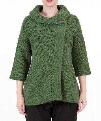 Green Wool-Blend Cowl Neck Cardigan