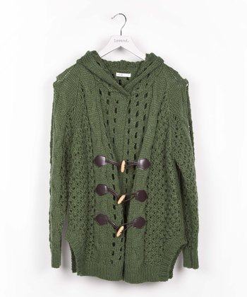 Green Toggle Wool-Blend Cardigan