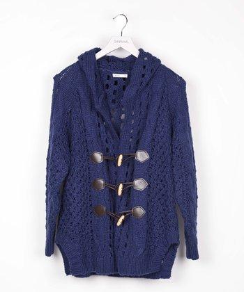 Blue Toggle Wool-Blend Cardigan