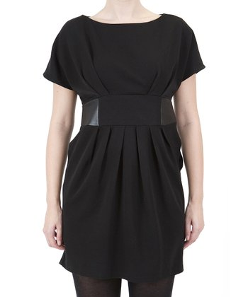 Black Pleated Boatneck Dress