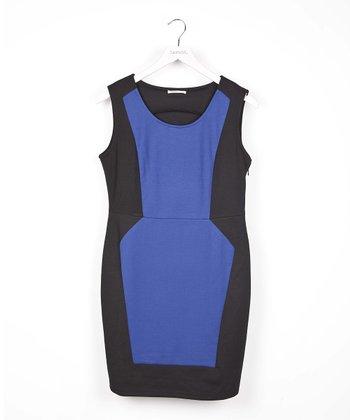 Blue Color Block Dress