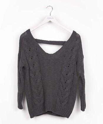 Gray Cutout-Back Sweater