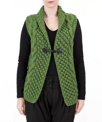 Green Toggle Sweater Vest