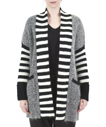 Black Stripe Open Cardigan