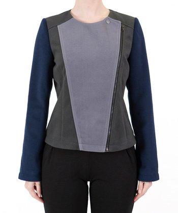 Gray Color Block Zip Jacket