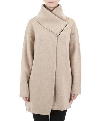 Beige Asymmetrical Wool-Blend Coat