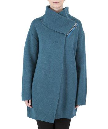 Blue Asymmetrical Wool-Blend Coat