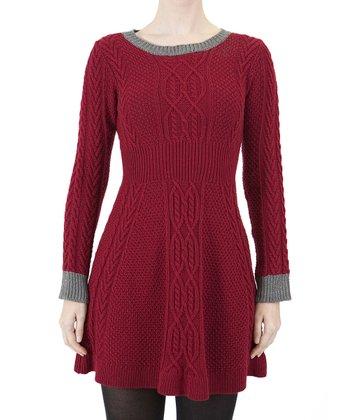 Red & Gray Sweater Dress