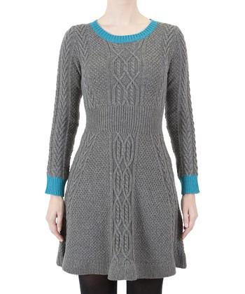 Gray & Blue Sweater Dress