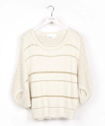 White Stripe Dolman Sweater