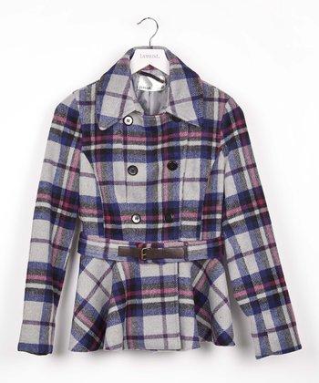 Light Gray Plaid Belted Coat
