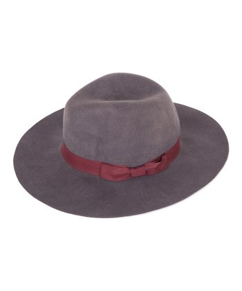 Gray & Red Bow Wool Hat