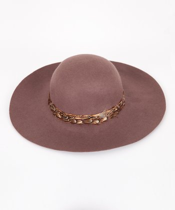 Brown Feather Wool Hat