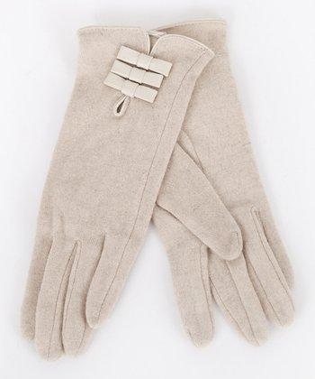 Beige Bow Wool-Blend Gloves