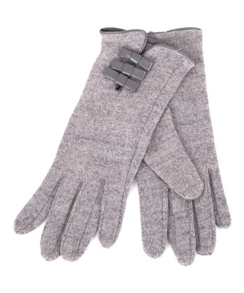Gray Bow Wool-Blend Gloves
