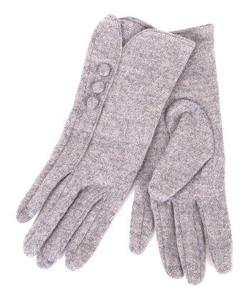 Gray Button Wool-Blend Gloves