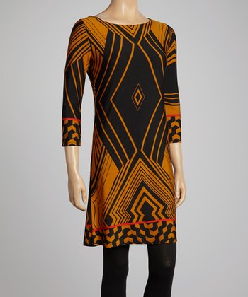 Black & Gold Geometric Shift Dress