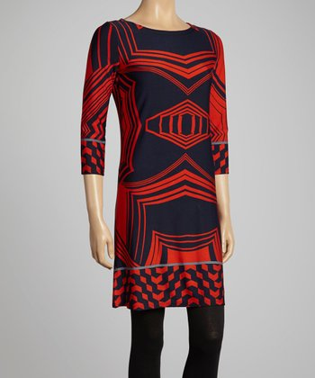Navy & Red Geometric Shift Dress