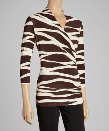 Brown & Beige Zebra Wrap Top