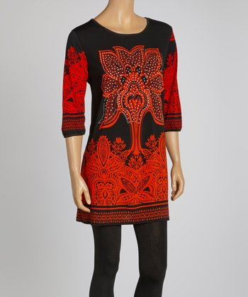 Orange & Black Three-Quarter Sleeve Dress