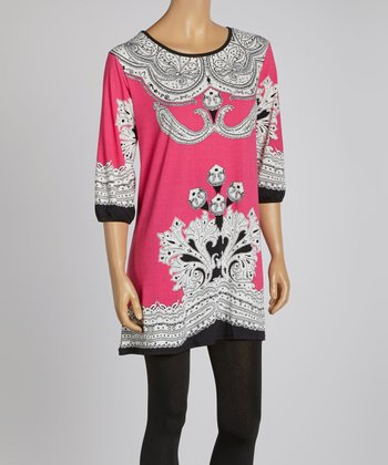 Fuchsia Flourish Three-Quarter Sleeve Dress