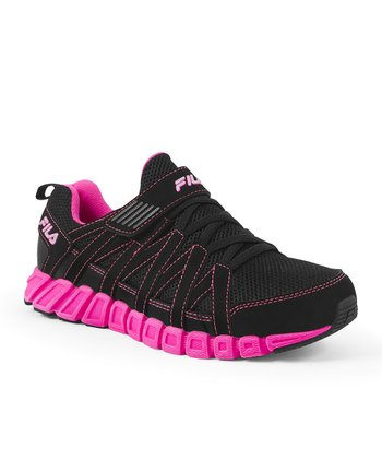 Black & Neon Pink Crater Running Shoe - Women
