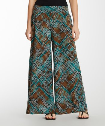 Aqua Abstract Bella Palazzo Pants