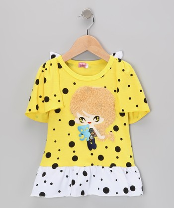 Yellow Girl Polka Dot Dress - Infant, Toddler & Girls