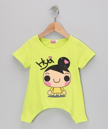 Green 'Hya' Sidetail Tee - Toddler & Girls