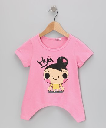 Pink 'Hya' Sidetail Tee - Toddler & Girls