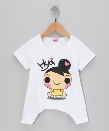 White 'Hya' Sidetail Tee - Toddler & Girls
