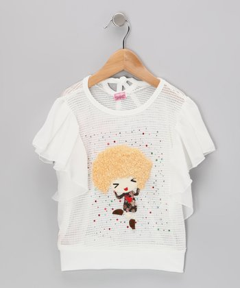 White Dancing Girl Cape-Sleeve Top - Toddler & Girls