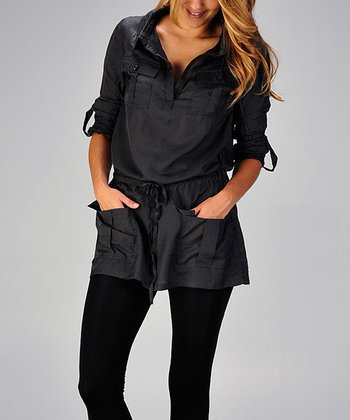 Charcoal Silk Drawstring Tunic