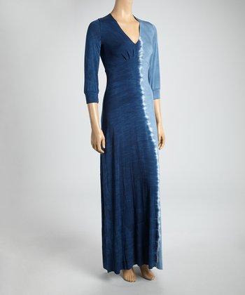 Navy Dip-Dye V-Neck Maxi Dress