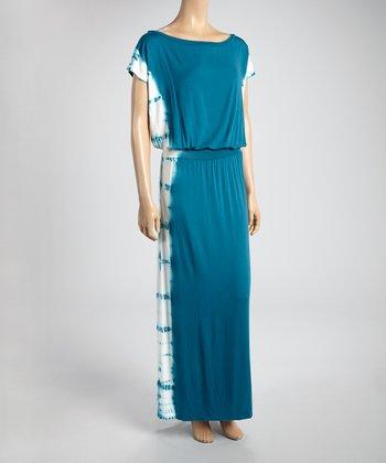 Teal Water Side Tie-Dye Maxi Dress