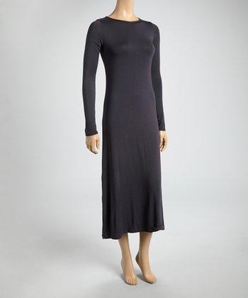 Charcoal Scoop Neck Midi Dress