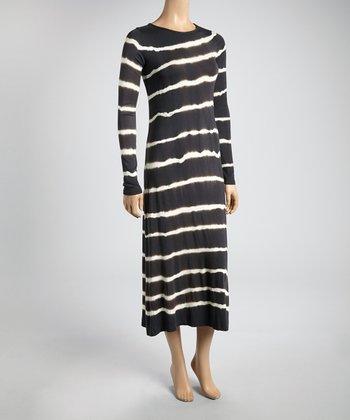 Charcoal & White Tie-Dye Stripe Midi Dress