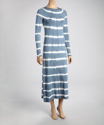 Gray & White Tie-Dye Stripe Midi Dress