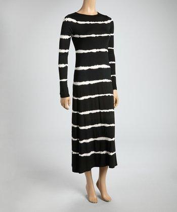 Black & White Tie-Dye Stripe Midi Dress