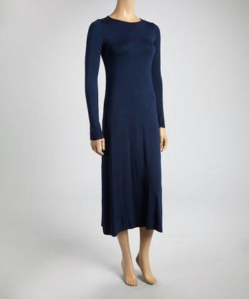 Navy Scoop Neck Midi Dress