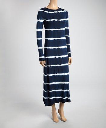 Navy & White Tie-Dye Stripe Midi Dress