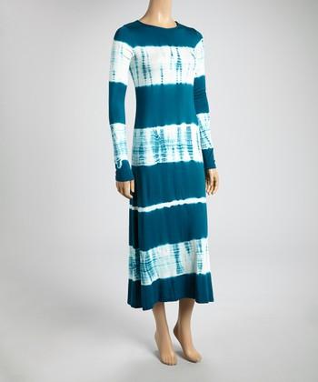 Teal & Bamboo Tie-Dye Color Block Midi Dress