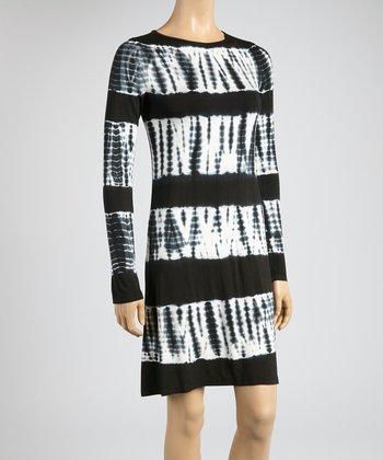 Black & Bamboo Tie-Dye Color Block Scoop Neck Dress