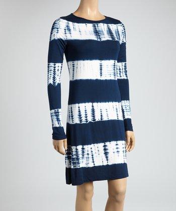 Navy & Bamboo Tie-Dye Color Block Scoop Neck Dress