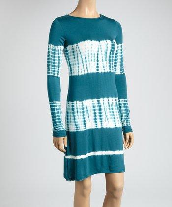 Teal & Bamboo Tie-Dye Color Block Scoop Neck Dress