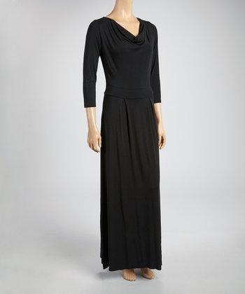 Black Drape Maxi Dress