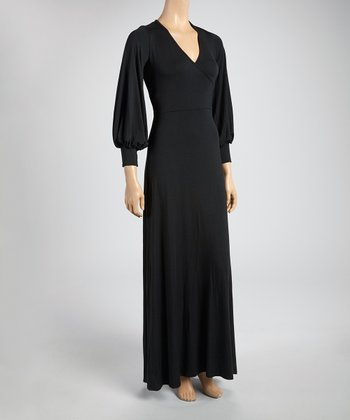 Black Tie-Waist Maxi Dress