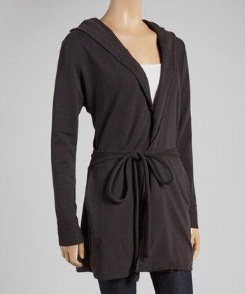Black Tie-Front Hooded Cardigan