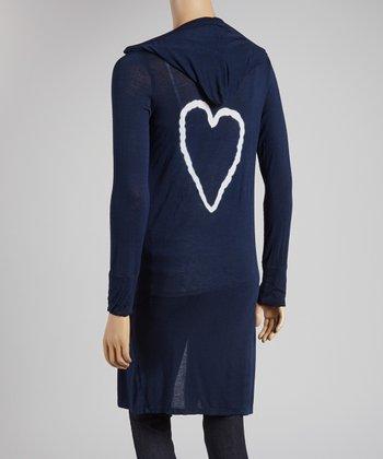 Navy & White Heart Hooded Cardigan