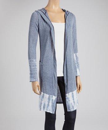 Gray & Bamboo Ikat Hooded Cardigan